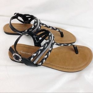 American Eagle Black and Silver Sandals